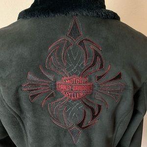 Harley Davidson suede jacket faux fur lined zip M